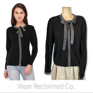 Black Knit Cardigan Sweater ~Silver Trim & Tie ~XL
